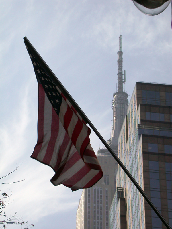 Flag with Empire State Building. October 2001.